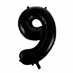 Ballon cijfer 9 zwart