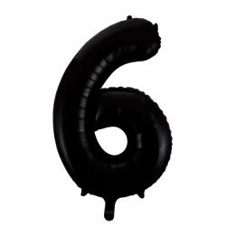 Ballon cijfer 6 zwart