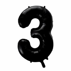 Ballon cijfer 3 zwart
