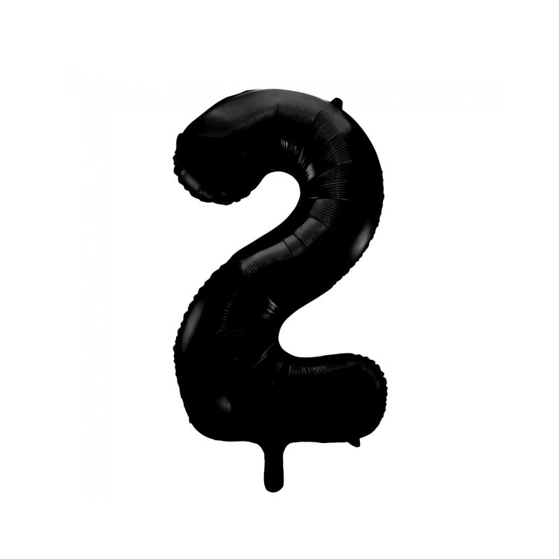 Ballon cijfer 2 zwart