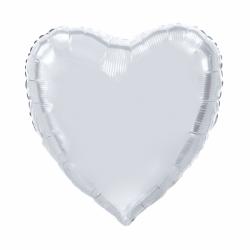 Heliumballon hart zilver jumbo