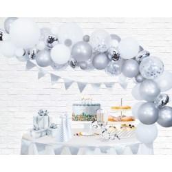 Ballonnenboog decoratie kit zilver