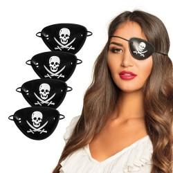 Piraten ooglapjes plastic 4 stuks