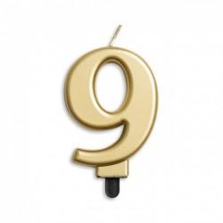 Kaarsje goud cijfer 9