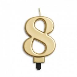 Kaarsje goud cijfer 8