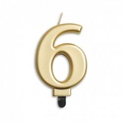 Kaarsjes goud cijfer 6