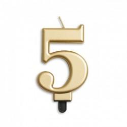 Kaarsje goud cijfer 5