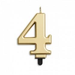 Kaarsje goud cijfer 4