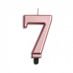 Kaarsje rosé goud cijfer 7