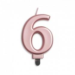 Kaarsje rosé goud cijfer 6