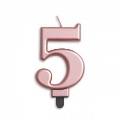 Kaarsje rosé goud cijfer 5