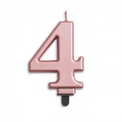 Kaarsje rosé goud cijfer 4