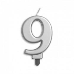 Kaarsje zilver cijfer 9