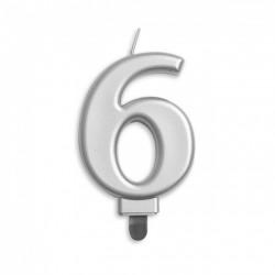 Kaarsje zilver cijfer 6