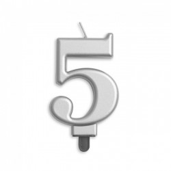 Kaarsje zilver cijfer 5