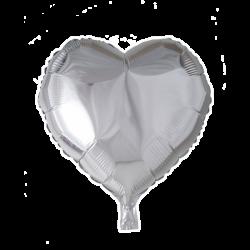Heliumballon hart zilver standaard