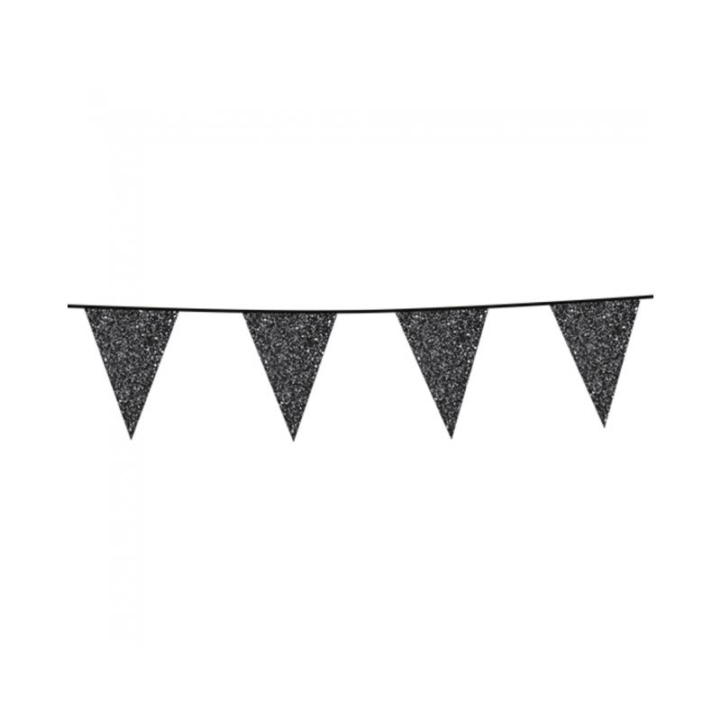 Vlaggenlijn glitter zwart