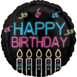 Heliumballon Neon Happy Birthday