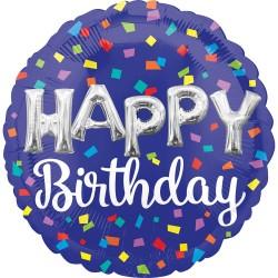 Heliumballon Happy Birthday blauw