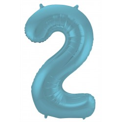 Ballon cijfer 2 mat pastel blauw