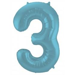 Ballon cijfer 3 mat pastel blauw