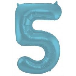 Ballon cijfer 5 mat pastel blauw