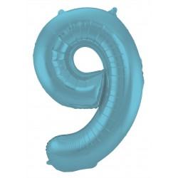 Ballon cijfer 9 mat pastel blauw