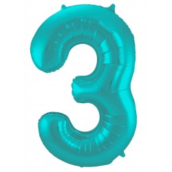 Ballon cijfer 3 mat pastel mint