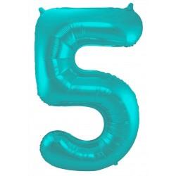 Ballon cijfer 5 mat pastel mint