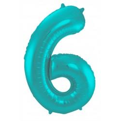 Ballon cijfer 6 mat pastel mint