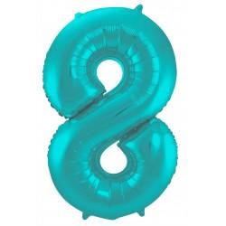 Ballon cijfer 8 mat pastel mint