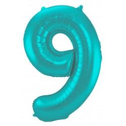 Ballon cijfer 9 mat pastel mint
