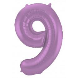 Ballon cijfer 9 mat paars