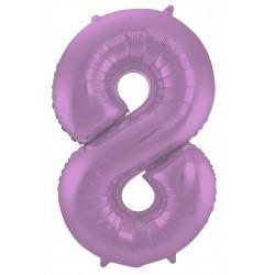 Ballon cijfer 8 mat paars