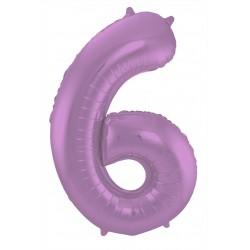 Ballon cijfer 6 mat paars
