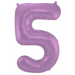 Ballon cijfer 5 mat paars