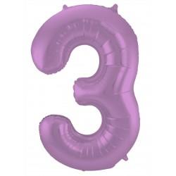 Ballon cijfer 3 mat paars