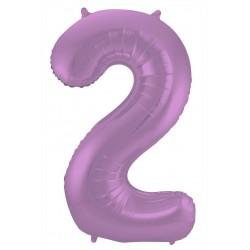 Ballon cijfer 2 mat paars