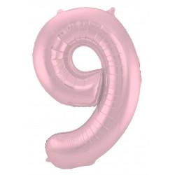 Ballon cijfer 9 mat roze