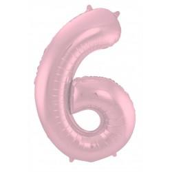 Ballon cijfer 6 mat roze