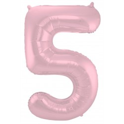 Ballon cijfer 5 mat roze