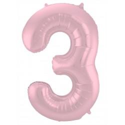 Ballon cijfer 3 mat roze