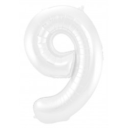 Ballon cijfer 9 mat wit