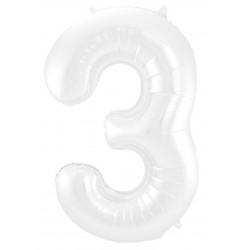 Ballon cijfer 3 mat wit