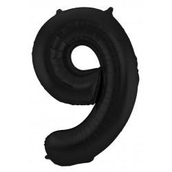 Ballon cijfer 9 mat zwart