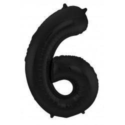 Ballon cijfer 6 mat zwart