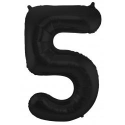 Ballon cijfer 5 mat zwart