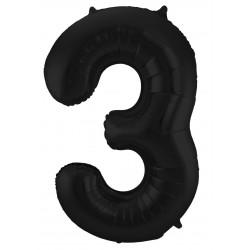 Ballon cijfer 3 mat zwart
