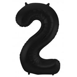 Ballon cijfer 2 mat zwart
