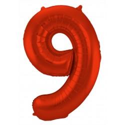 Ballon cijfer 9 mat rood